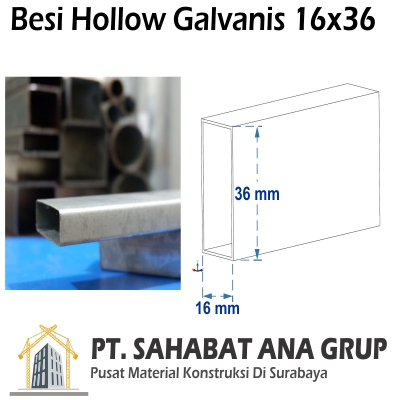 Besi Hollow Galvanis 16x36