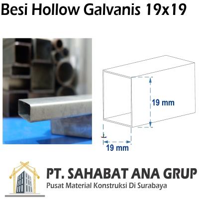 Besi Hollow Galvanis 19x19