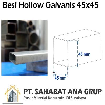 Besi Hollow Galvanis 45x45