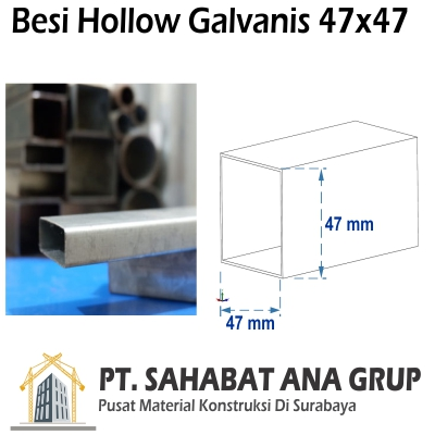 Besi Hollow Galvanis 47x47