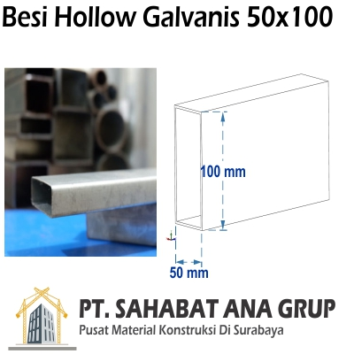 Besi Hollow Galvanis 50x100