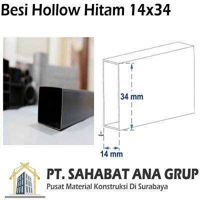 Besi Hollow Hitam 14x34