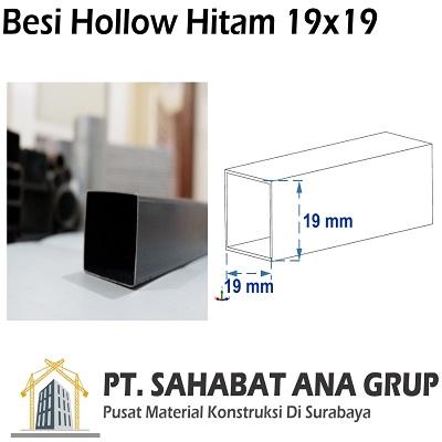 Besi Hollow Hitam 19x19