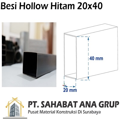 Besi Hollow Hitam 20x40