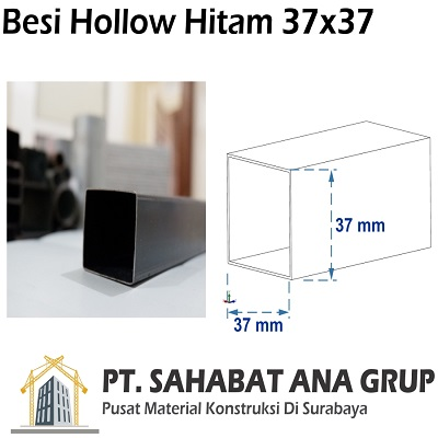 Besi Hollow Hitam 37x37