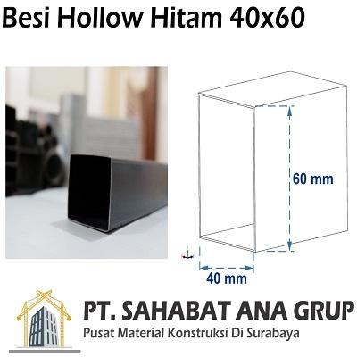 Besi Hollow Hitam 40x60